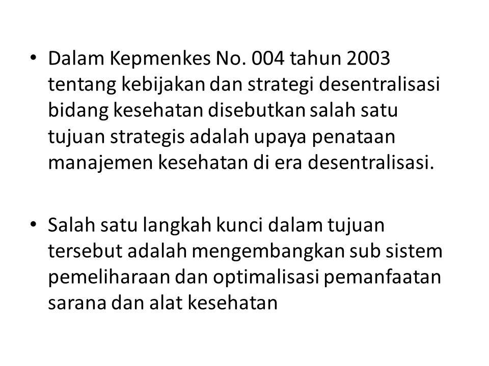 Dalam Kepmenkes No. 004 tahun 2003 tentang kebijakan dan strategi desentralisasi bidang kesehatan disebutkan salah satu tujuan strategis adalah upaya penataan manajemen kesehatan di era desentralisasi.