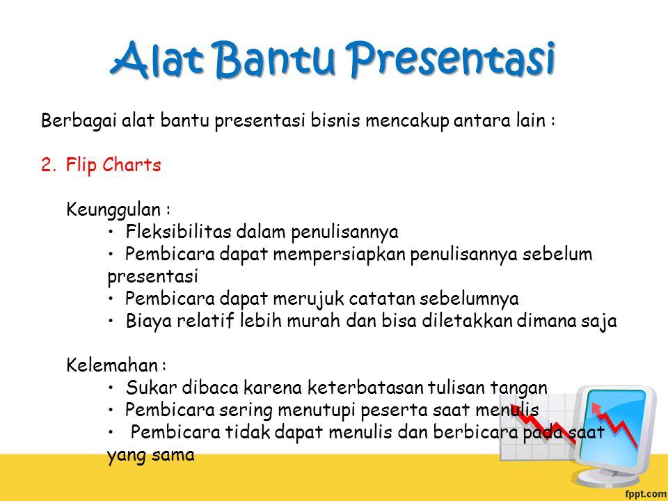 Alat Bantu Presentasi Berbagai alat bantu presentasi bisnis mencakup antara lain :