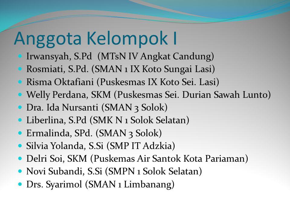 Anggota Kelompok I Irwansyah, S.Pd (MTsN IV Angkat Candung)