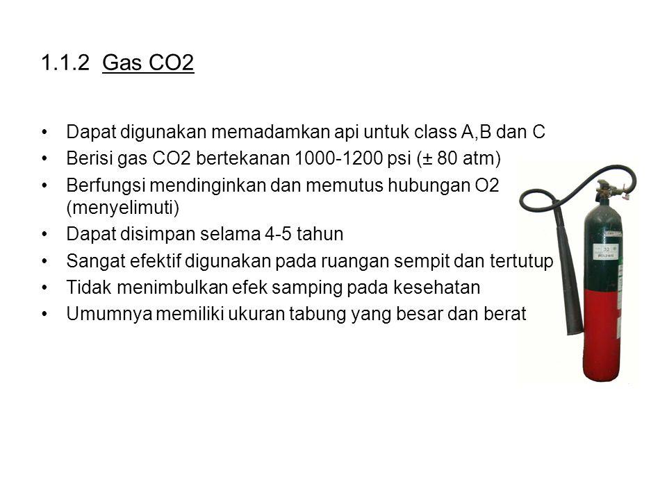 1.1.2 Gas CO2 Dapat digunakan memadamkan api untuk class A,B dan C