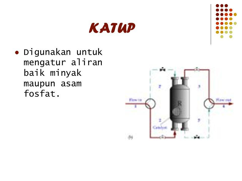 KATUP Digunakan untuk mengatur aliran baik minyak maupun asam fosfat.