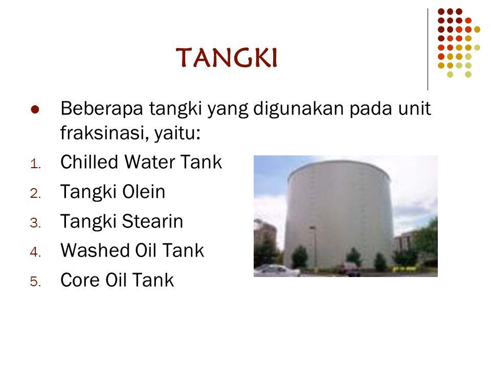 TANGKI Beberapa tangki yang digunakan pada unit fraksinasi, yaitu: