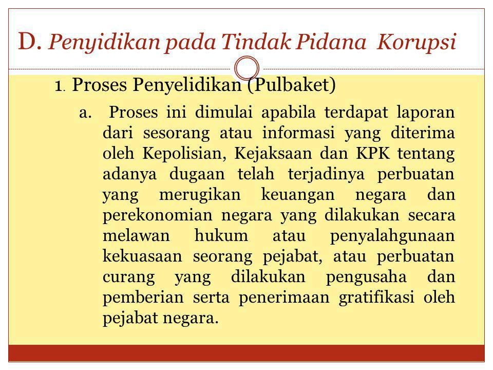 D. Penyidikan pada Tindak Pidana Korupsi