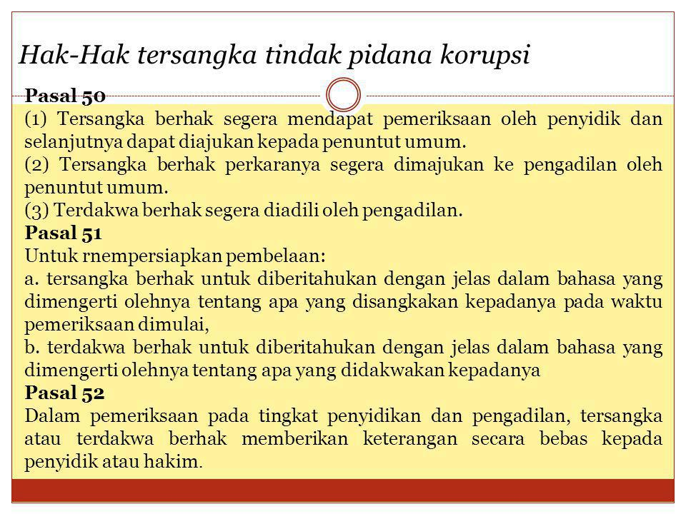 Hak-Hak tersangka tindak pidana korupsi