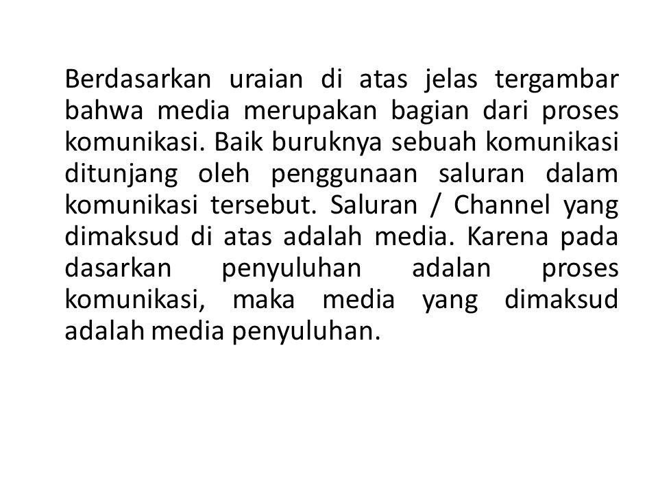Berdasarkan uraian di atas jelas tergambar bahwa media merupakan bagian dari proses komunikasi.