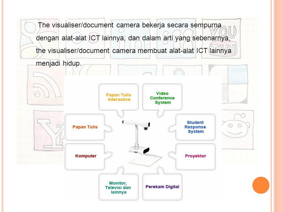 The visualiser/document camera bekerja secara sempurna dengan alat-alat ICT lainnya, dan dalam arti yang sebenarnya, the visualiser/document camera membuat alat-alat ICT lainnya menjadi hidup.