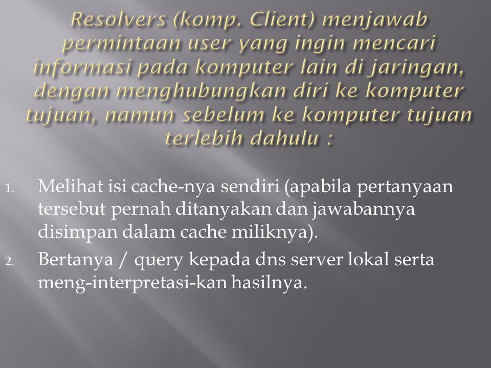 Resolvers (komp. Client) menjawab permintaan user yang ingin mencari informasi pada komputer lain di jaringan, dengan menghubungkan diri ke komputer tujuan, namun sebelum ke komputer tujuan terlebih dahulu :
