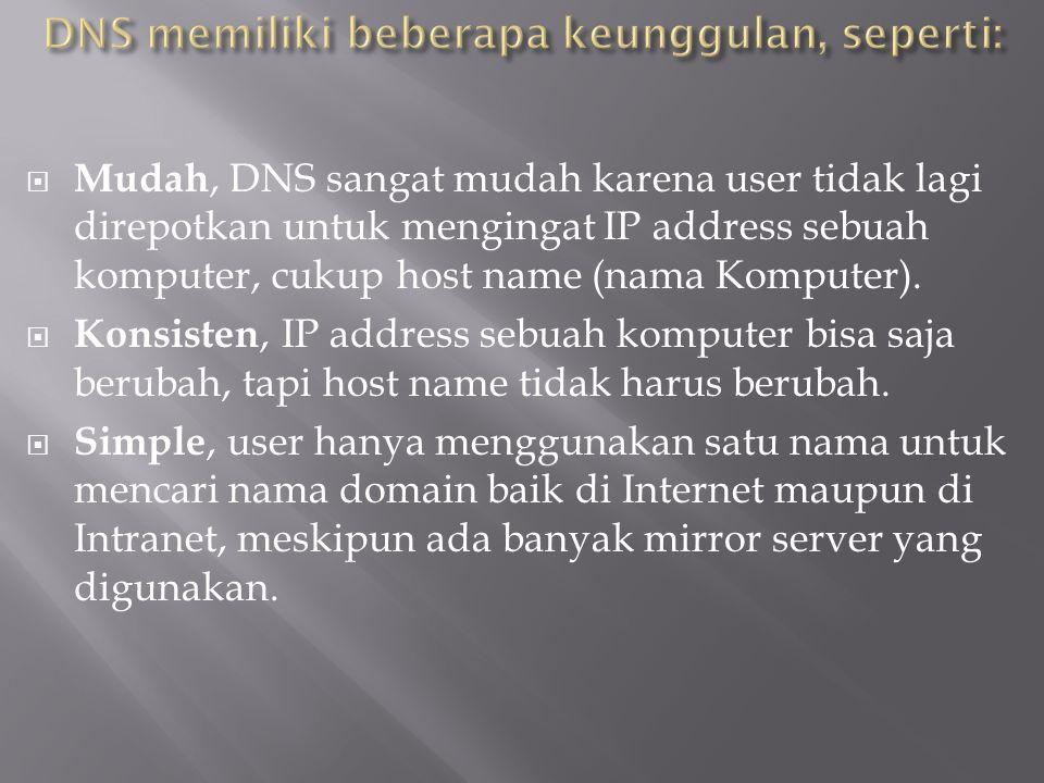 DNS memiliki beberapa keunggulan, seperti: