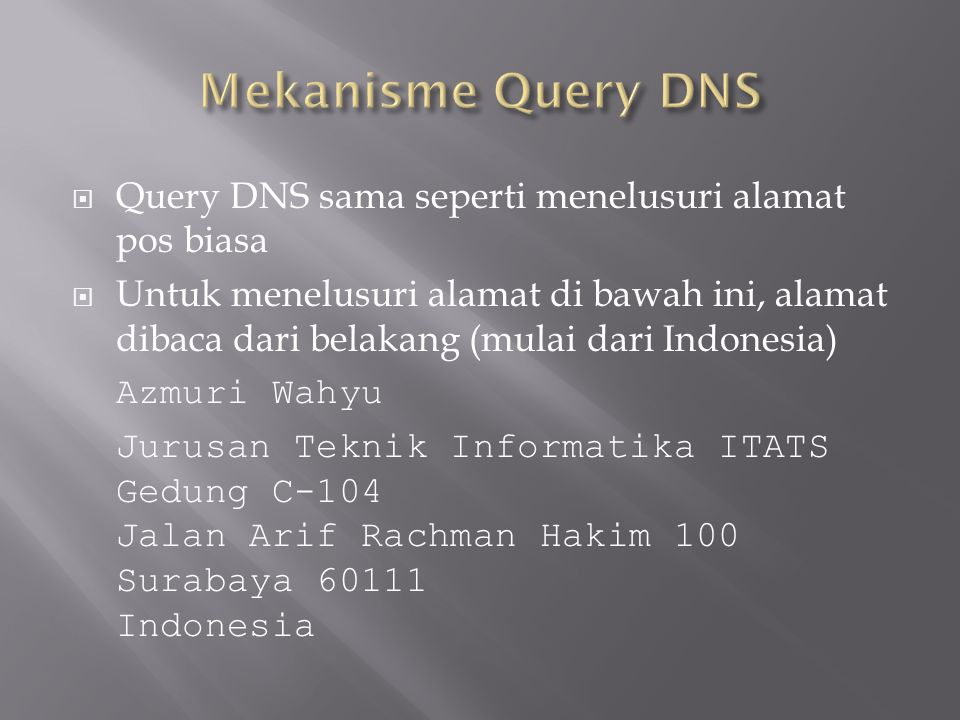 Mekanisme Query DNS Query DNS sama seperti menelusuri alamat pos biasa