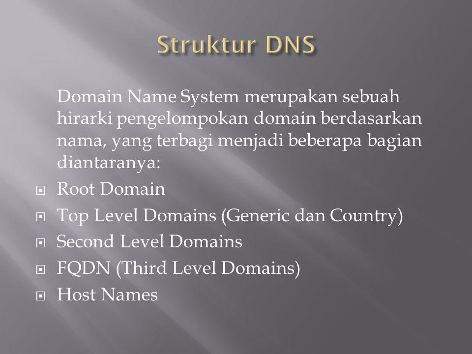 Struktur DNS Domain Name System merupakan sebuah hirarki pengelompokan domain berdasarkan nama, yang terbagi menjadi beberapa bagian diantaranya: