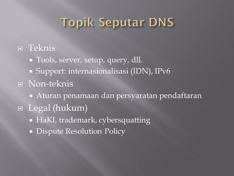 Topik Seputar DNS Teknis Non-teknis Legal (hukum)
