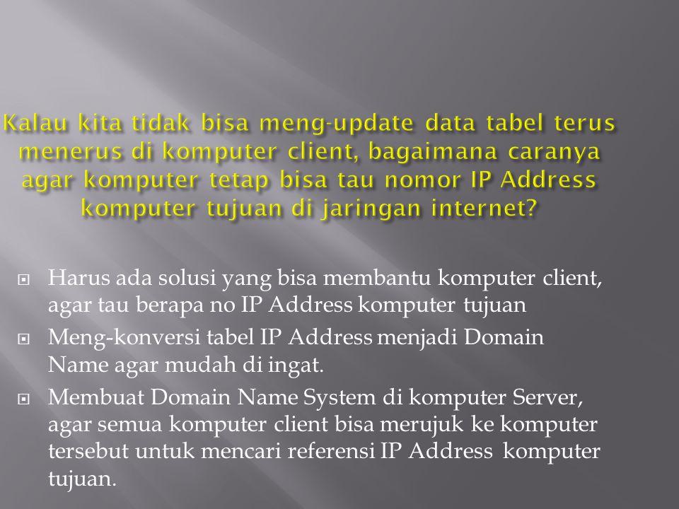 Kalau kita tidak bisa meng-update data tabel terus menerus di komputer client, bagaimana caranya agar komputer tetap bisa tau nomor IP Address komputer tujuan di jaringan internet