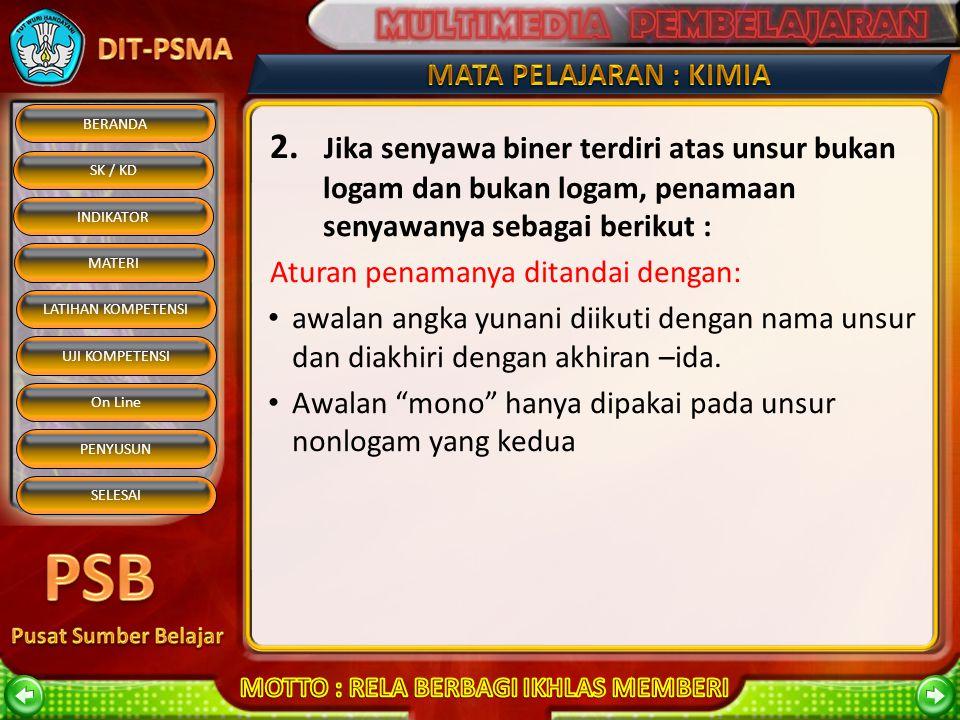 2. Jika senyawa biner terdiri atas unsur bukan logam dan bukan logam, penamaan senyawanya sebagai berikut :