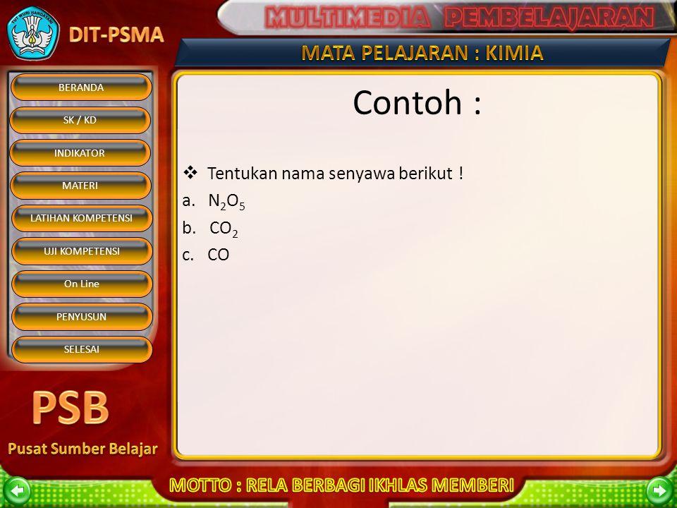 Contoh : Tentukan nama senyawa berikut ! a. N2O5 b. CO2 c. CO