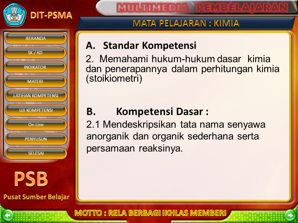 B. Kompetensi Dasar : A. Standar Kompetensi