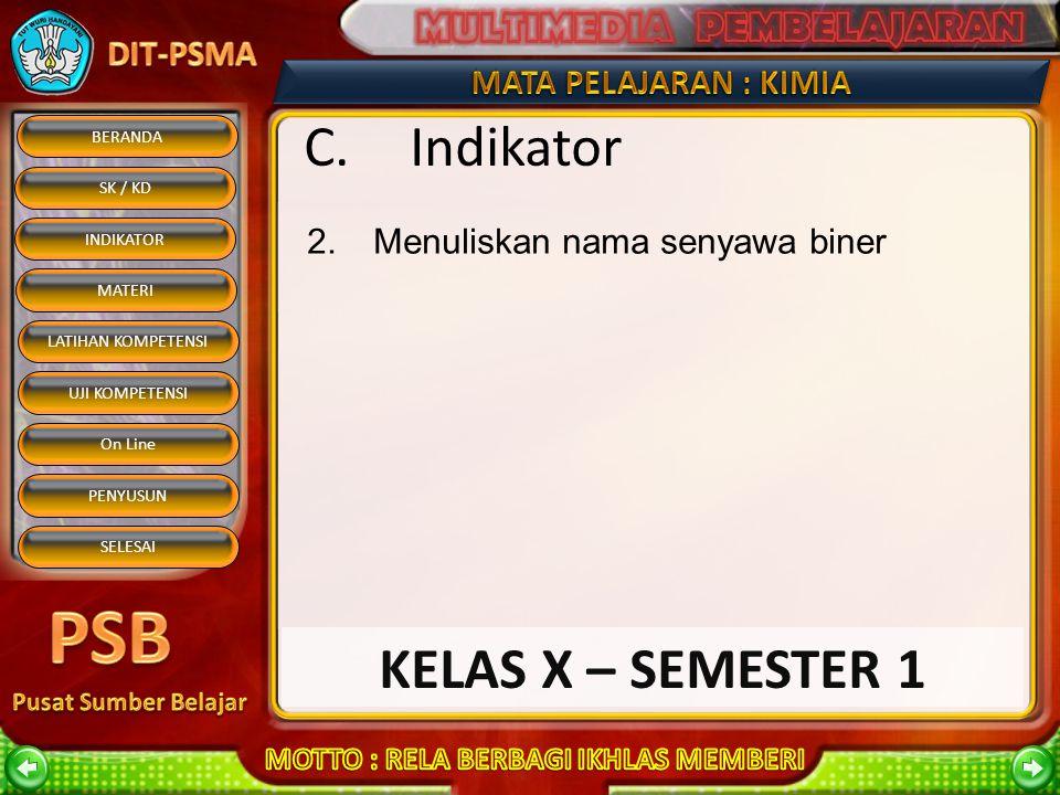 C. Indikator Menuliskan nama senyawa biner KELAS X – SEMESTER 1