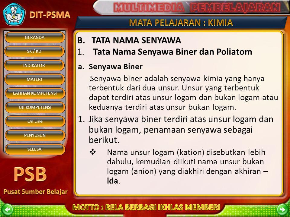 B. TATA NAMA SENYAWA 1. Tata Nama Senyawa Biner dan Poliatom