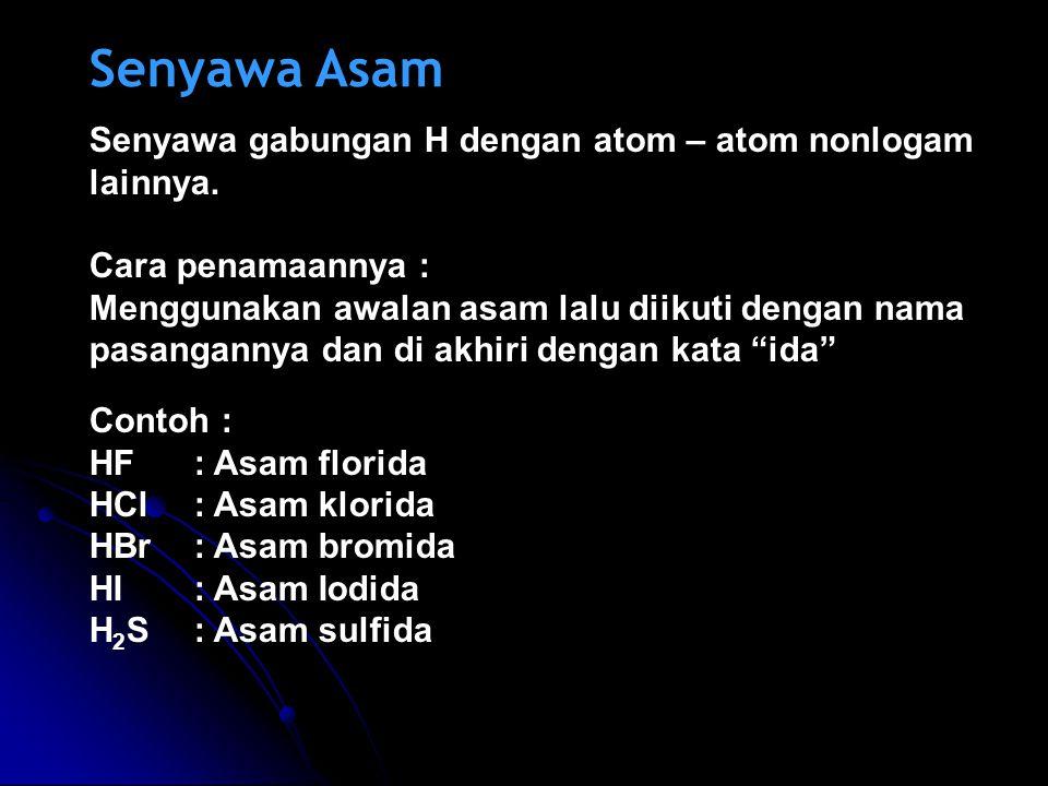 Senyawa Asam Senyawa gabungan H dengan atom – atom nonlogam lainnya.