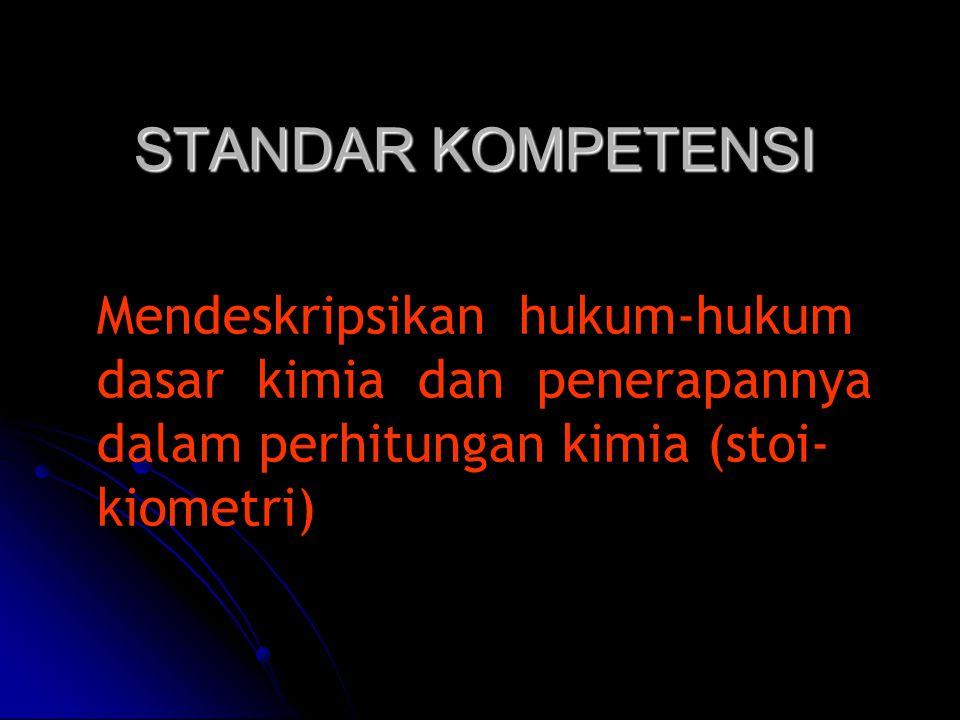 STANDAR KOMPETENSI Mendeskripsikan hukum-hukum dasar kimia dan penerapannya dalam perhitungan kimia (stoi-kiometri)
