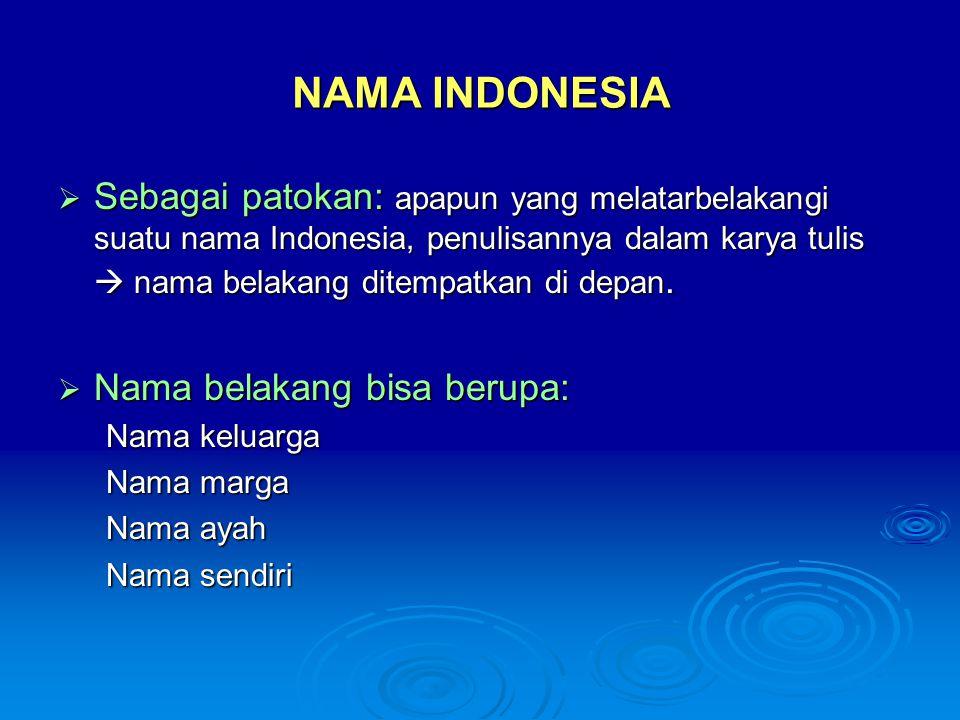 NAMA INDONESIA