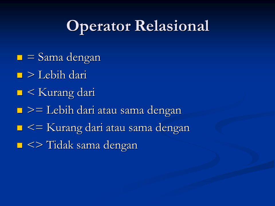 Operator Relasional = Sama dengan > Lebih dari < Kurang dari