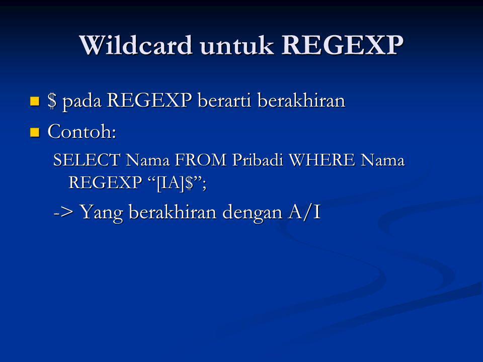 Wildcard untuk REGEXP $ pada REGEXP berarti berakhiran Contoh: