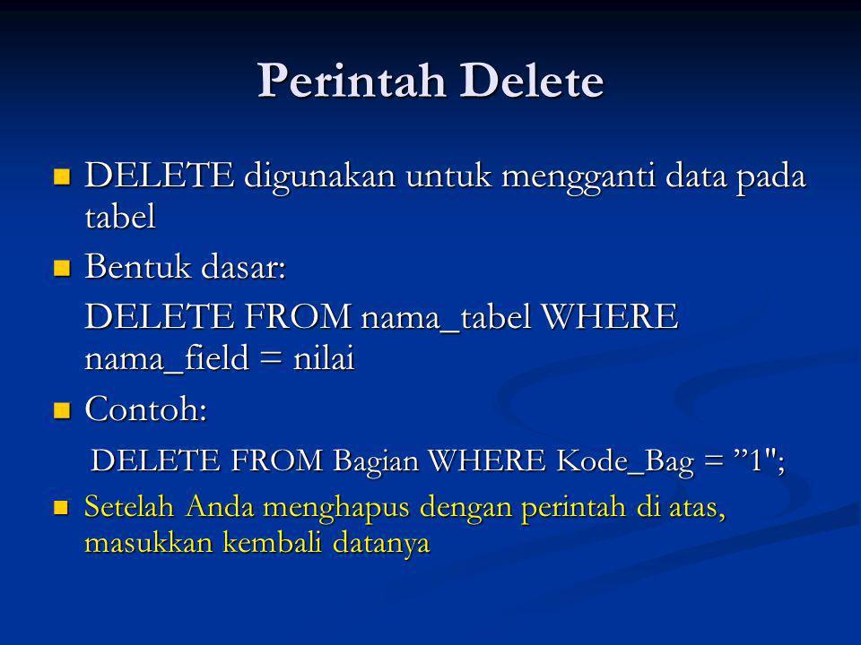 Perintah Delete DELETE digunakan untuk mengganti data pada tabel