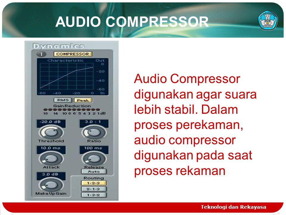 AUDIO COMPRESSOR Audio Compressor digunakan agar suara lebih stabil. Dalam proses perekaman, audio compressor digunakan pada saat proses rekaman.