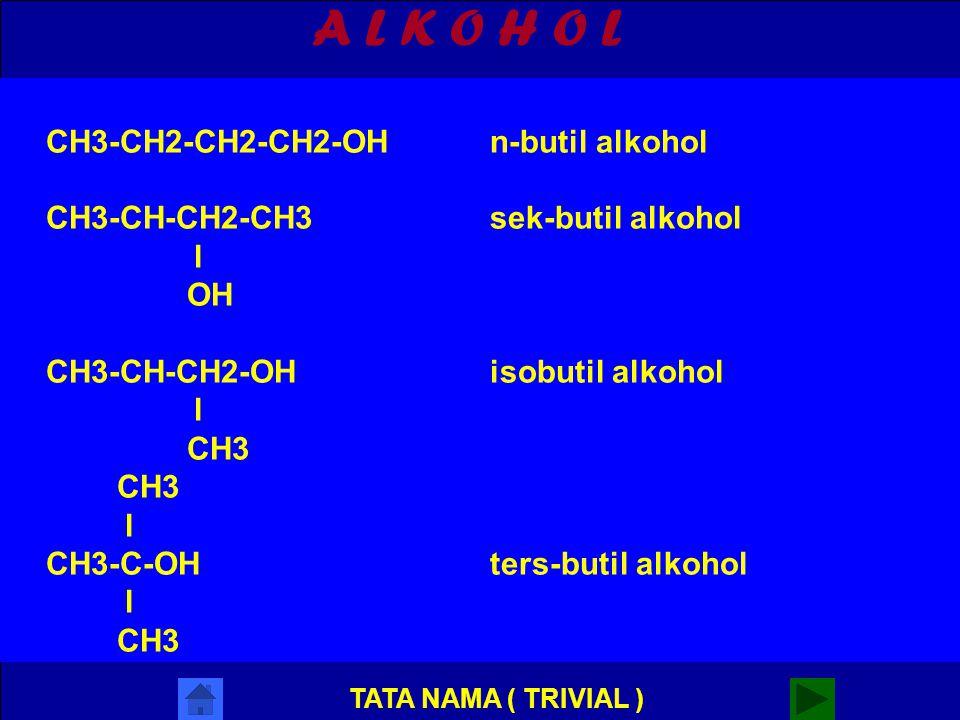 A L K O H O L CH3-CH2-CH2-CH2-OH n-butil alkohol