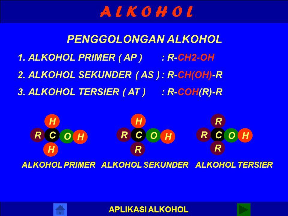 A L K O H O L PENGGOLONGAN ALKOHOL ALKOHOL PRIMER ( AP ) : R-CH2-OH