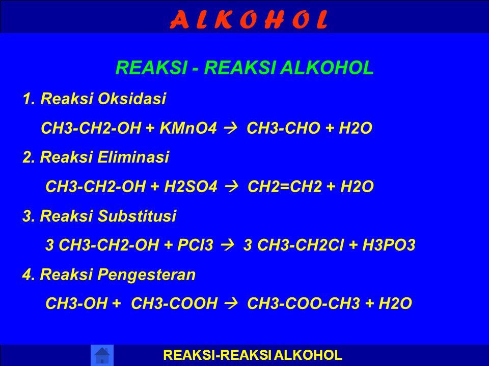 REAKSI - REAKSI ALKOHOL REAKSI-REAKSI ALKOHOL