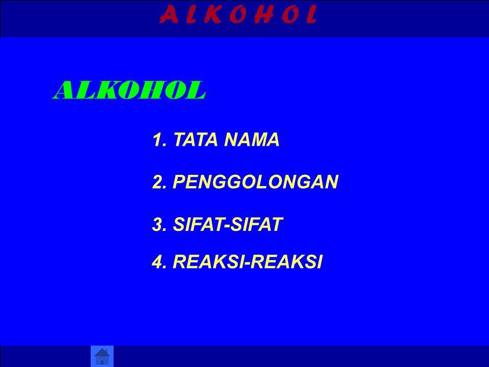 A L K O H O L ALKOHOL 1. TATA NAMA 2. PENGGOLONGAN 3. SIFAT-SIFAT