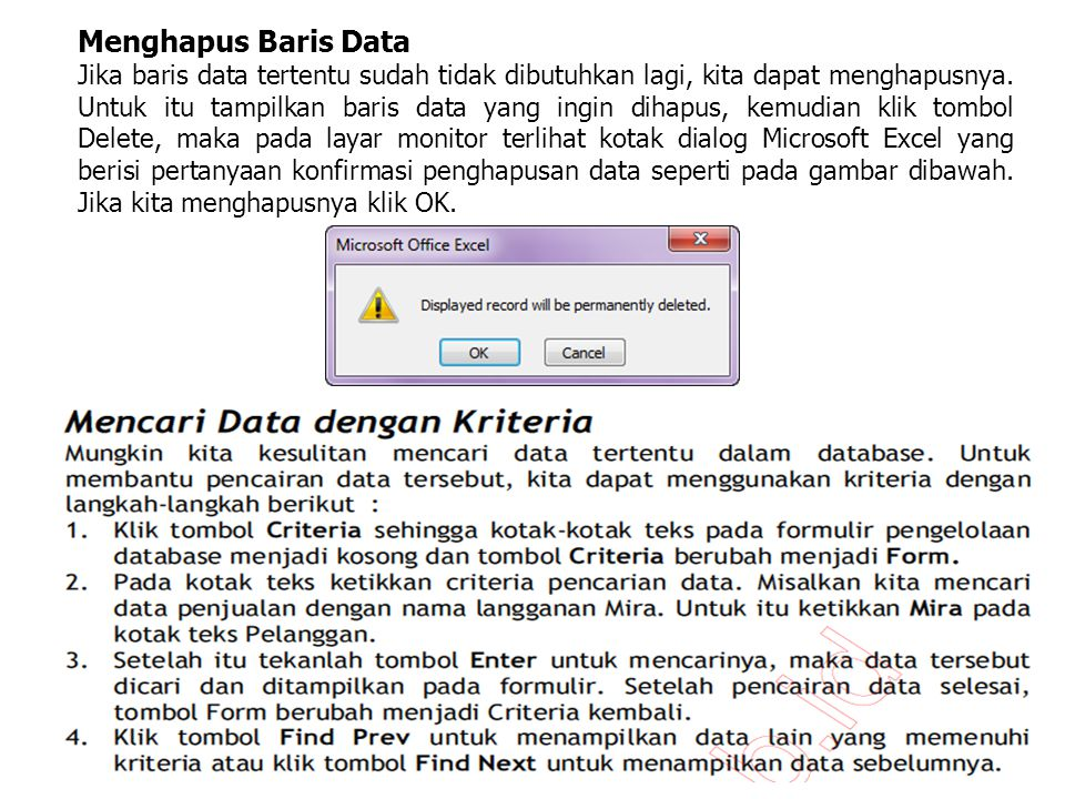 Menghapus Baris Data
