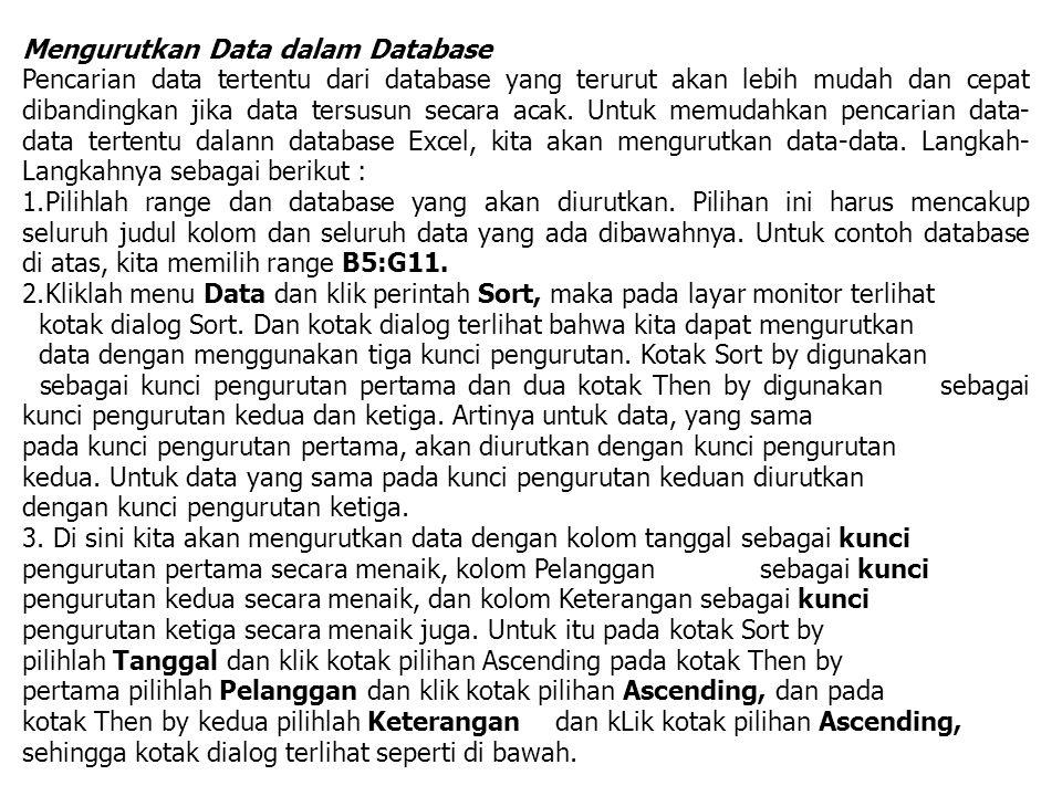 Mengurutkan Data dalam Database