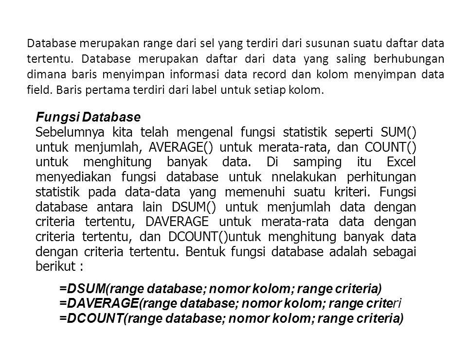 Database merupakan range dari sel yang terdiri dari susunan suatu daftar data tertentu. Database merupakan daftar dari data yang saling berhubungan dimana baris menyimpan informasi data record dan kolom menyimpan data field. Baris pertama terdiri dari label untuk setiap kolom.