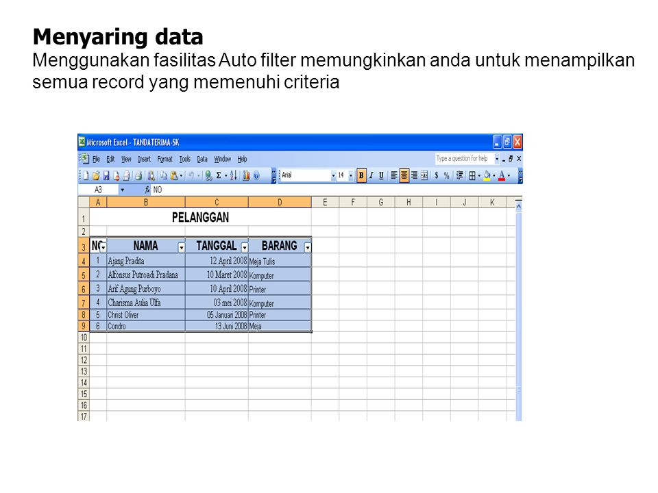 Menyaring data Menggunakan fasilitas Auto filter memungkinkan anda untuk menampilkan semua record yang memenuhi criteria.