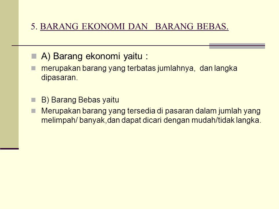 5. BARANG EKONOMI DAN BARANG BEBAS.