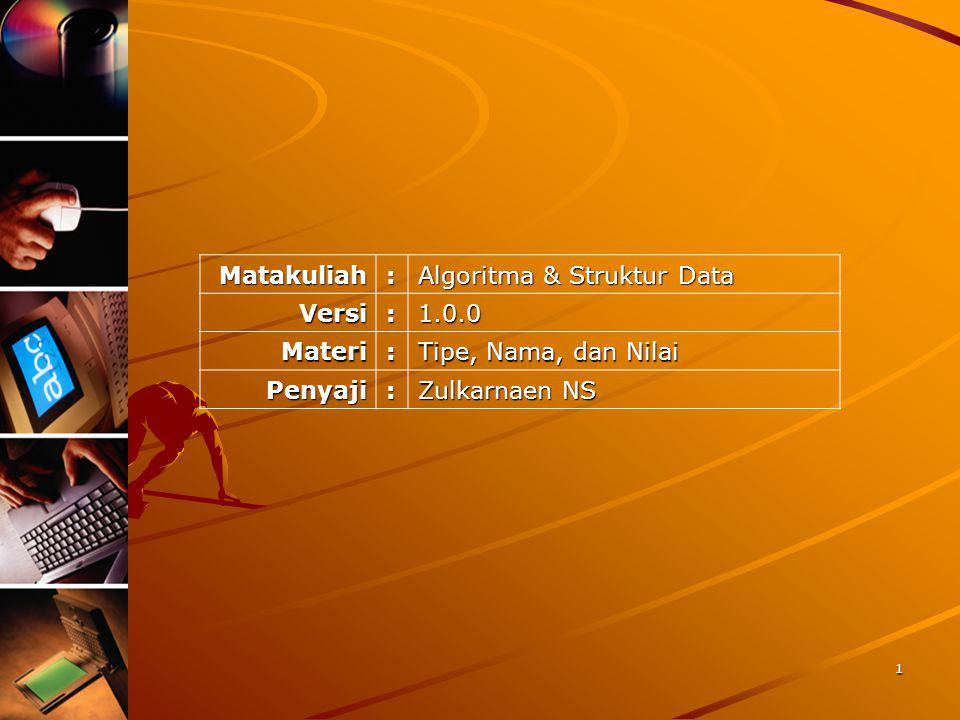 Matakuliah : Algoritma & Struktur Data. Versi. 1.0.0. Materi. Tipe, Nama, dan Nilai. Penyaji.