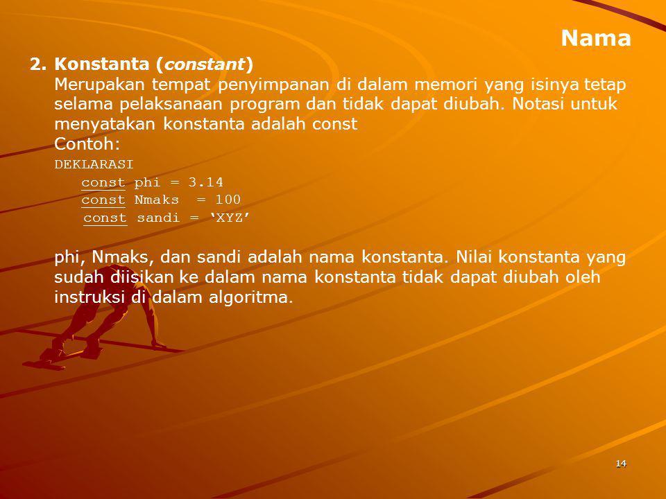 Nama Konstanta (constant)