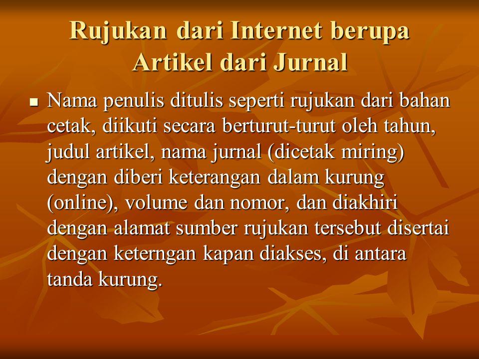 Rujukan dari Internet berupa Artikel dari Jurnal