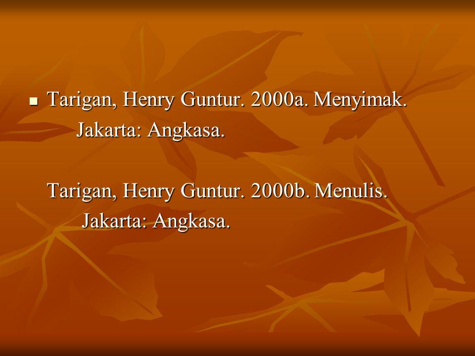 Tarigan, Henry Guntur. 2000a. Menyimak.