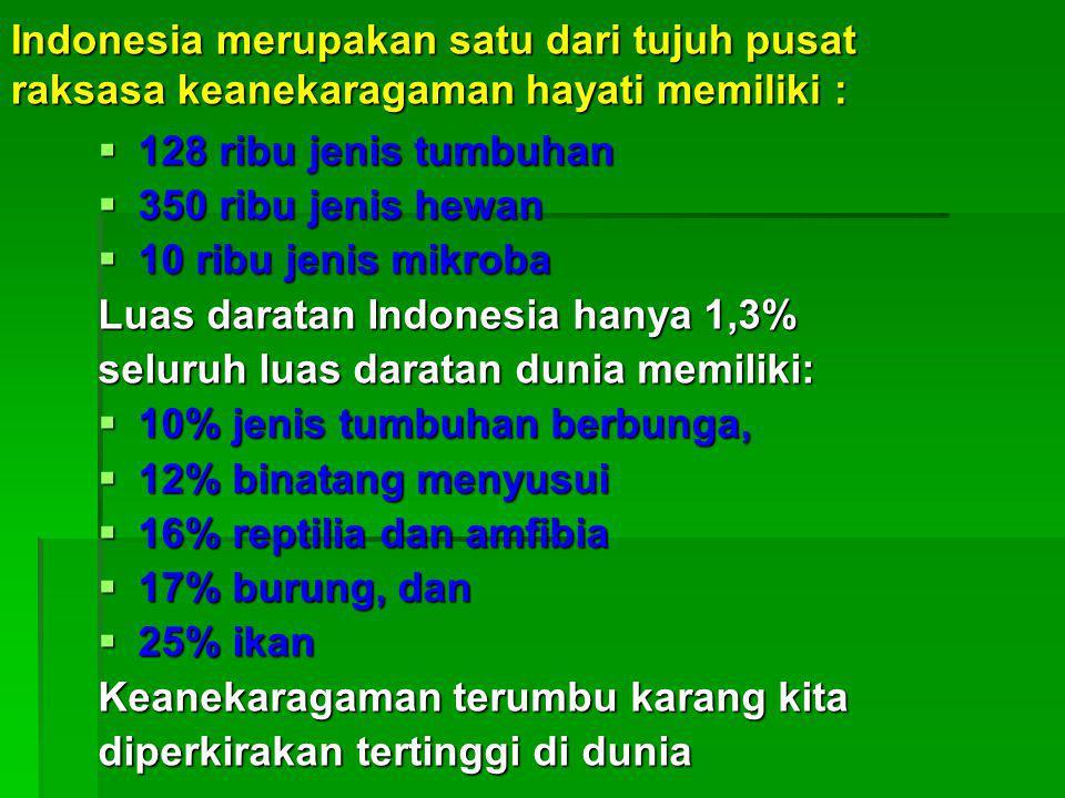 Indonesia merupakan satu dari tujuh pusat raksasa keanekaragaman hayati memiliki :