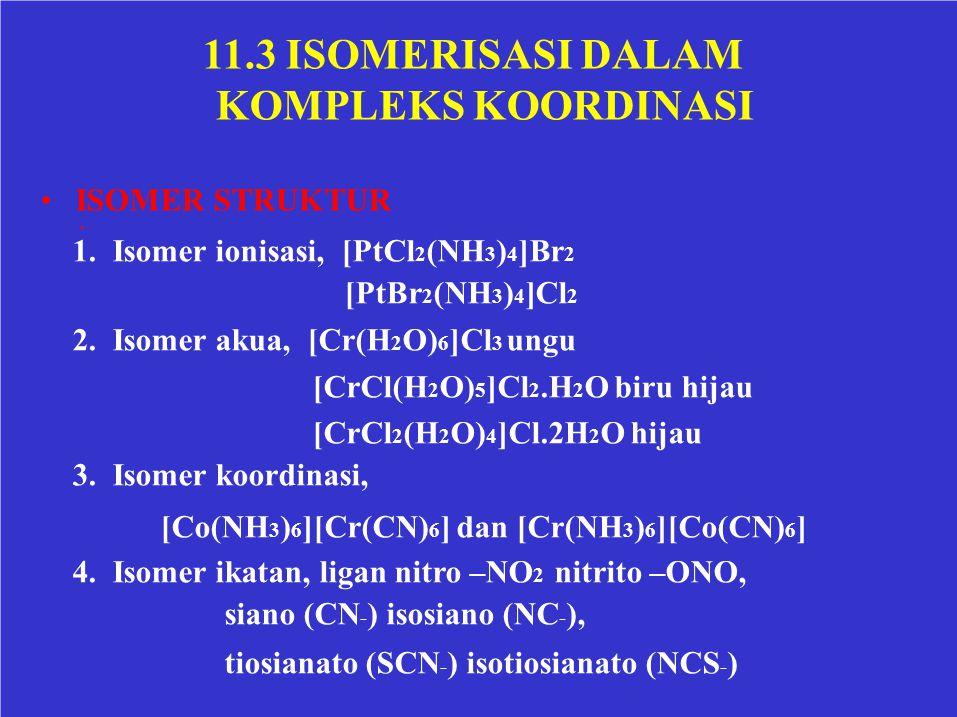 11.3 ISOMERISASI DALAM KOMPLEKS KOORDINASI • ISOMER STRUKTUR