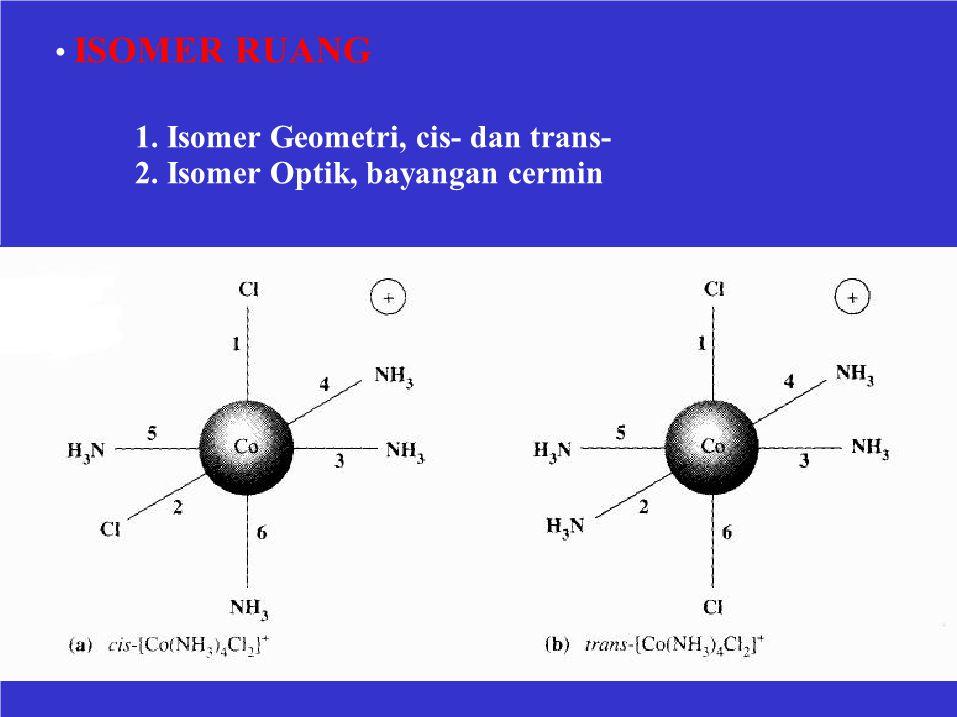 • ISOMER RUANG 1. Isomer Geometri, cis- dan trans- 2. Isomer Optik, bayangan cermin