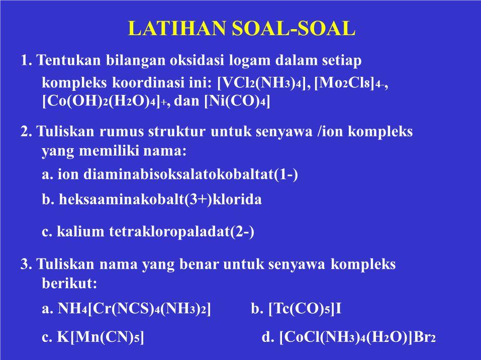 LATIHAN SOAL-SOAL 1. Tentukan bilangan oksidasi logam dalam setiap