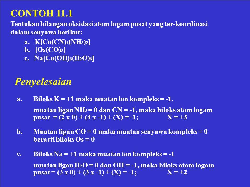 CONTOH 11.1 Tentukan bilangan oksidasi atom logam pusat yang ter-koordinasi. dalam senyawa berikut:
