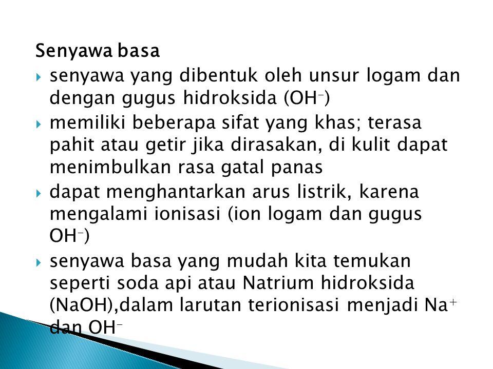 Senyawa basa senyawa yang dibentuk oleh unsur logam dan dengan gugus hidroksida (OH-)