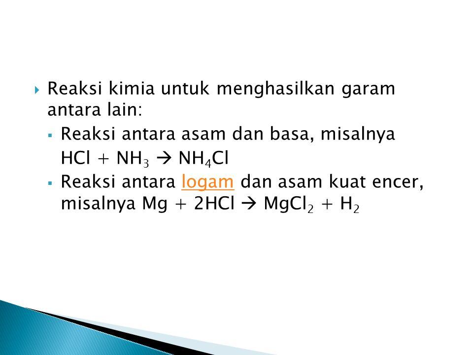 Reaksi kimia untuk menghasilkan garam antara lain:
