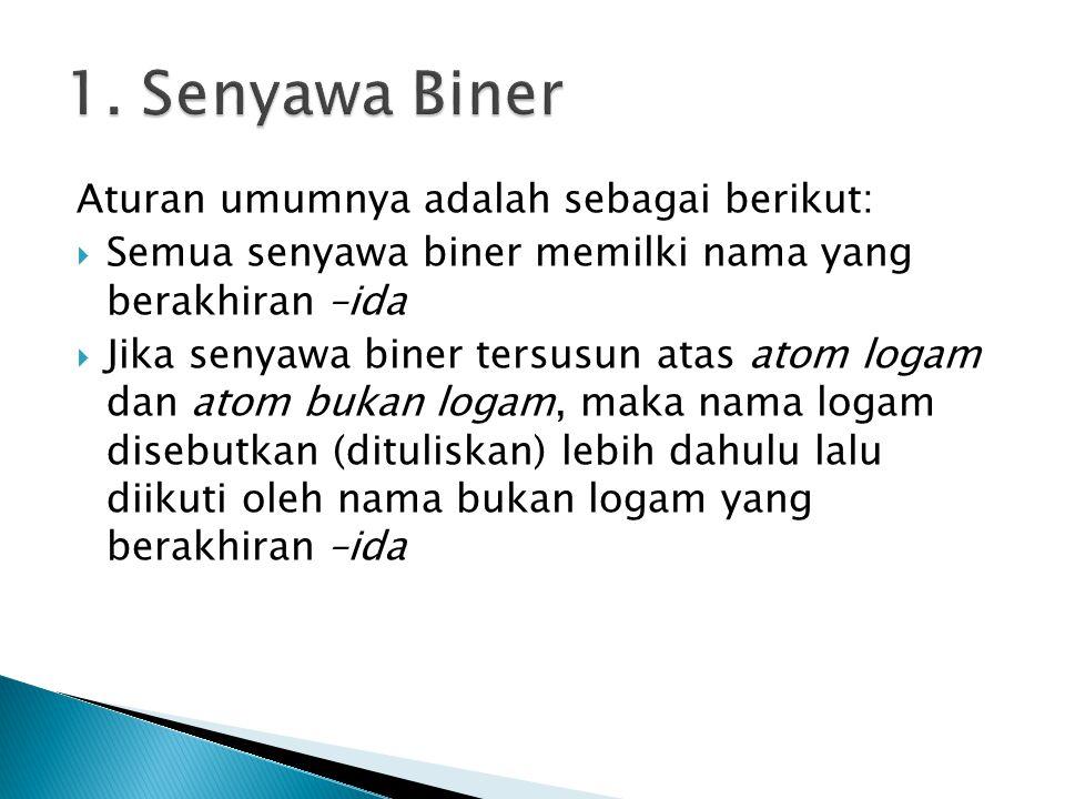1. Senyawa Biner Aturan umumnya adalah sebagai berikut: