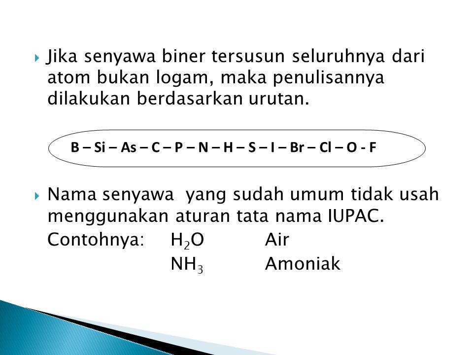 Jika senyawa biner tersusun seluruhnya dari atom bukan logam, maka penulisannya dilakukan berdasarkan urutan.